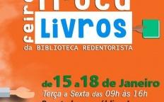 """Biblioteca redentorista promove 1ª """"Feira Troca de Livros"""""""